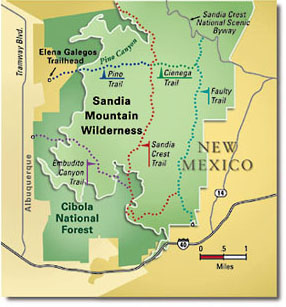 custom national parks map of Sandia Mts.